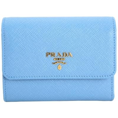 PRADA Saffiano 金字防刮牛皮三折式短夾(水藍色)