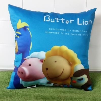 奶油獅-總動員系列-台灣製造專利全彩立體印刷方形抱枕布套-藍一入-不含枕心