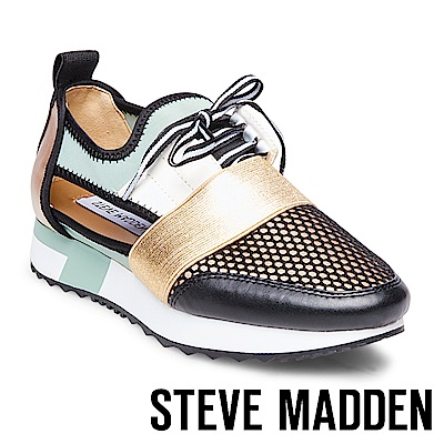 STEVE MADDEN-ARCTIC 拼接綁帶休閒鞋-綠金