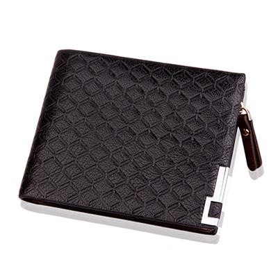 A-accessories-鐵角邊框方塊紋多功零錢橫款短夾-2色任選