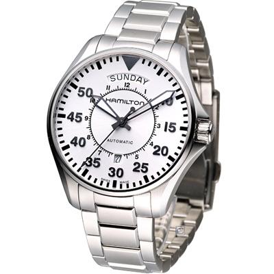 Hamilton Khaki Pilot航空軍用飛行機械錶-白/42mm