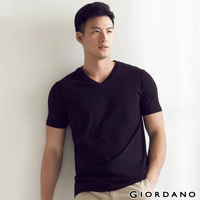 GIORDANO-男裝G-COOL涼感吸濕排汗V領TEE-09-標誌黑