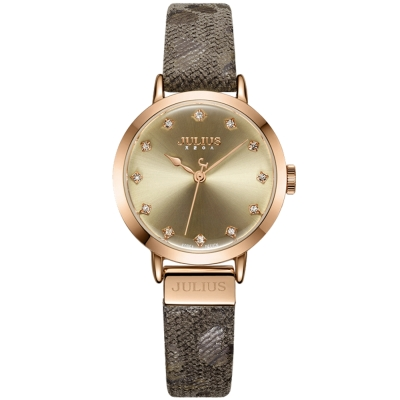 JULIUS聚利時 甜心豹紋皮錶帶腕錶-咖啡/28mm