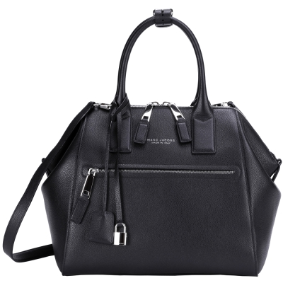 MARC JACOBS TEXTURED LARGE INCOGNITO小牛皮提包(黑色)