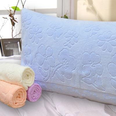 義大利La Belle 純色花卉 無捻紗枕巾-2入-藍