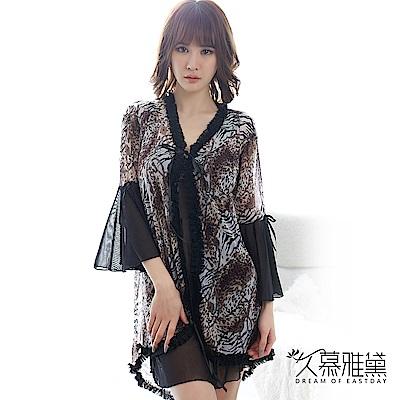 性感睡衣 性感豹紋透明柔紗三件式睡衣組。黑色 久慕雅黛