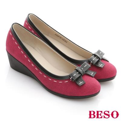 BESO-舒適悠閒-布面立體蝴蝶楔型跟鞋-桃紅