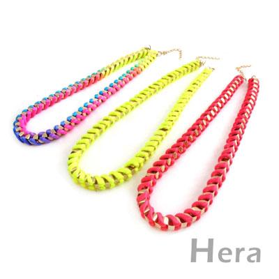 【Hera】赫拉 韓國飾品螢光編織方形項鍊/鎖骨鍊(三色任選)