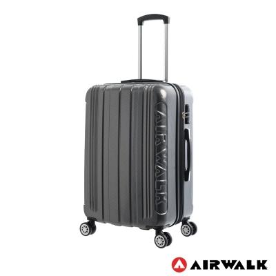 AIRWALK LUGGAGE - 品牌系列  碳纖直紋24吋拉鍊行李箱 - 洗鍊黑