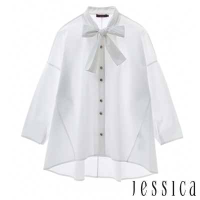 JESSICA-復古優雅領結襯衫(白)