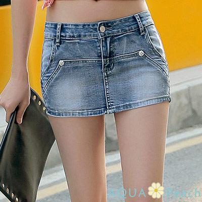 車縫線片裙包臀牛仔短褲裙 (共二色)-AQUA Peach