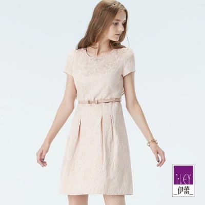 ILEY伊蕾-柔膚金蔥立體緹花短袖小禮服-粉