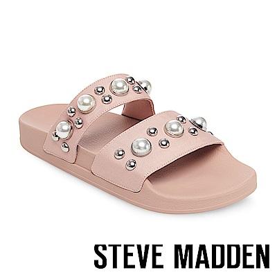 STEVE MADDEN-POLITE 珍珠鉚釘鑲嵌二字帶厚底拖-粉色