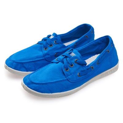 (女)Natural World 西班牙休閒鞋 素色3孔綁帶款*天空藍