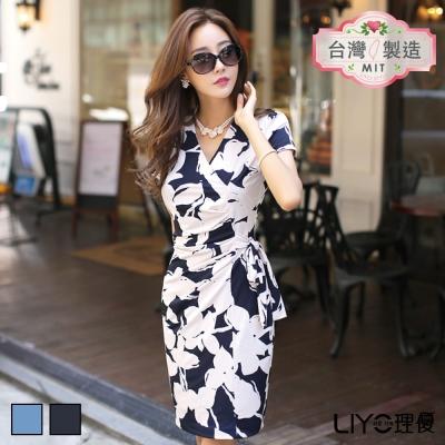 LIYO理優洋裝MIT印花綁帶連衣裙(深藍,淺藍)