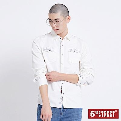 5th STREET 迷彩拼接襯衫-男-白色
