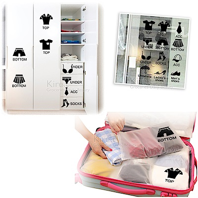 kiret 衣櫥抽屜 分類貼紙壁貼-行李 鞋櫃 衣櫃標誌貼