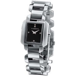ICEBERG 愛自我光芒魅力時尚設計時尚腕錶-黑/24x28mm