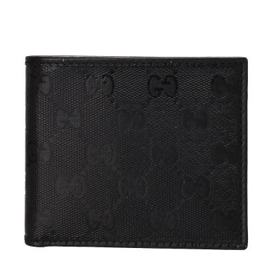 GUCCI GG Imprime雙G亮面壓紋折疊短夾(黑)