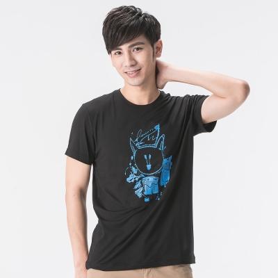 【SNOWFOX 雪狐】男款防曬透氣吸濕排汗短袖聯名圖T恤AT-81629黑