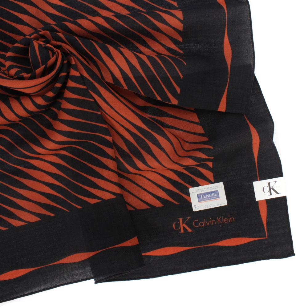 CK 律動波紋天然材質帕領巾-紅/黑