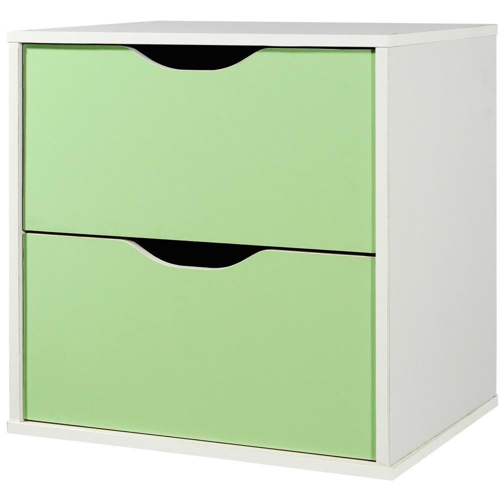 EASY HOME 魔術方塊雙抽收納櫃-森林綠