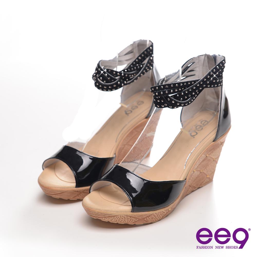 ee9心滿益足-漆皮鑽飾羅馬楔型魚口涼鞋-經典黑