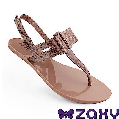 Zaxy 巴西 女 煥彩時光平底T字涼鞋-金蔥玫瑰粉