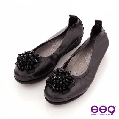 ee9 璀璨奢華~繽紛鑽飾小牛皮質感氣墊式娃娃鞋~璀璨黑