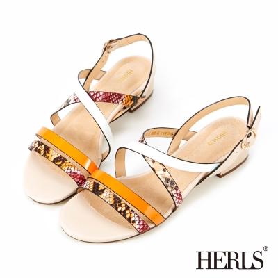 HERLS- 渲染蛇紋 內真皮拼色涼鞋-橘色