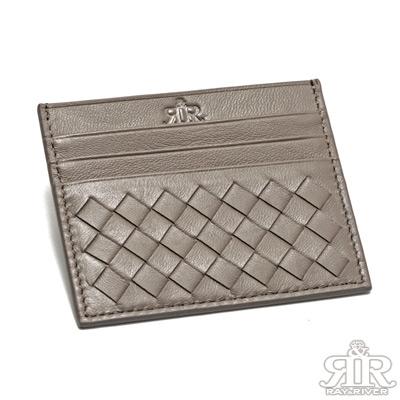 2R-加賀印象Kaga羊皮編織卡片夾-淺咖啡