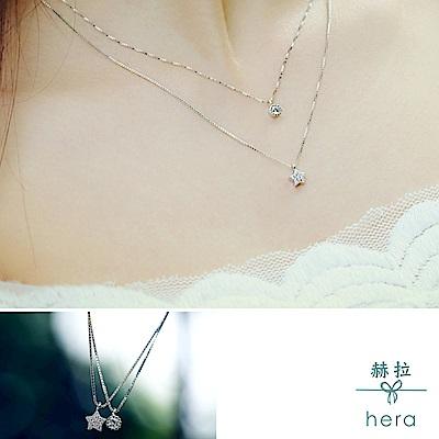 Hera 赫拉 925純銀五角星雙層項鍊簡約鎖骨鍊銀色