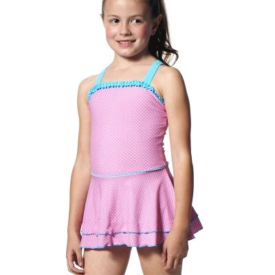 泳裝連身式兒童粉紅圍兜連身裙式女童泳裝聖手牌