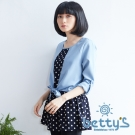 betty's貝蒂思 綁腰內襯圓點假兩件式雪紡上衣(藍色)