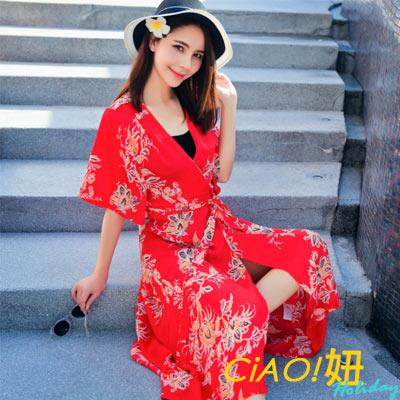 日系印花繫帶不規則罩衫洋裝 (共二色)-CIAO妞 Holiday