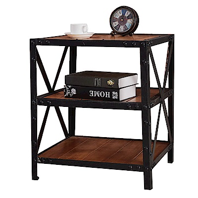 品家居 米貝兒1.7尺胡桃木紋實木床頭櫃-53x47x60cm-免組