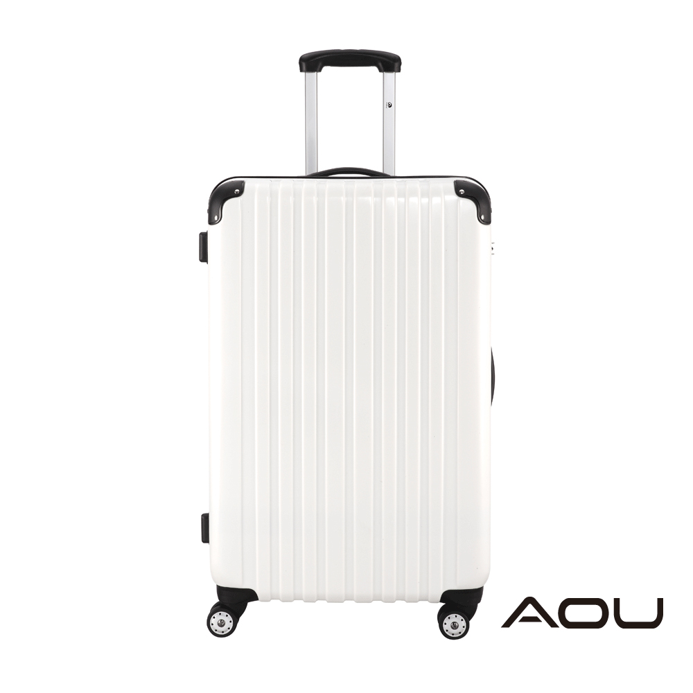 AOU 24吋 YKK防爆拉鍊TSA海關鎖鏡面硬殼旅行箱 雙跑車輪(純淨白)90-016B
