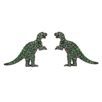 apm MONACO法國精品珠寶 金色綠鑽恐龍造型耳針式耳環