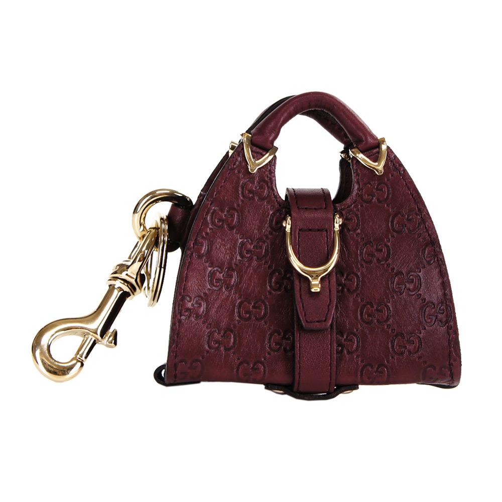 GUCCI 皮革壓紋賈姬包造型鑰匙圈(紫)