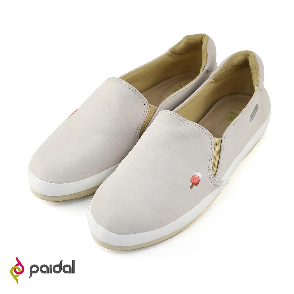 Paidal午茶甜點電繡休閒鞋樂福鞋懶人鞋-氣質灰