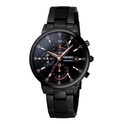 SEIKO 嶄新啟程時尚計時腕錶(SNDW47P1)-黑/36mm