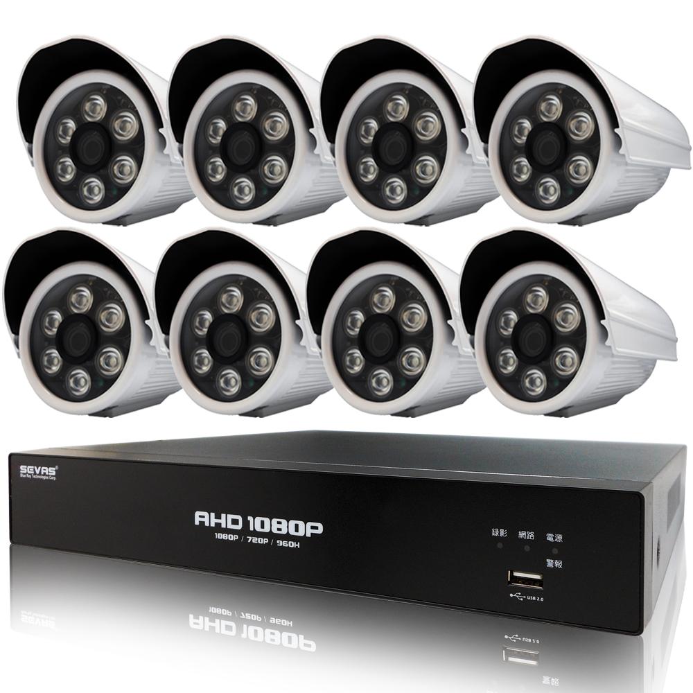 奇巧8路AHD 1080P雙硬碟款主機-含SONY 200萬畫素6陣列燈攝影機