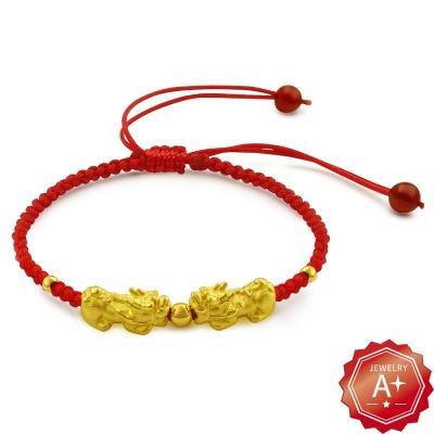 A+ 雙貔貅戲珠千足黃金轉運紅繩手鍊