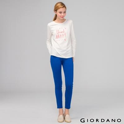 GIORDANO-女裝低腰彈力修身窄管休閒褲-73-琉璃藍