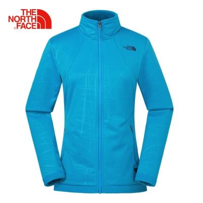 The North Face北面女款藍色抓絨保暖羽絨外套