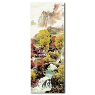 24mama掛畫 - 單聯無框圖畫藝術家飾品掛畫油畫-風吹杏金黃-30x80cm