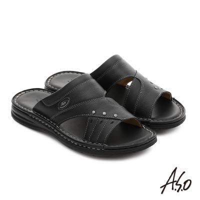 A.S.O 都會休閒 全牛皮手縫氣墊休閒涼拖鞋 黑色