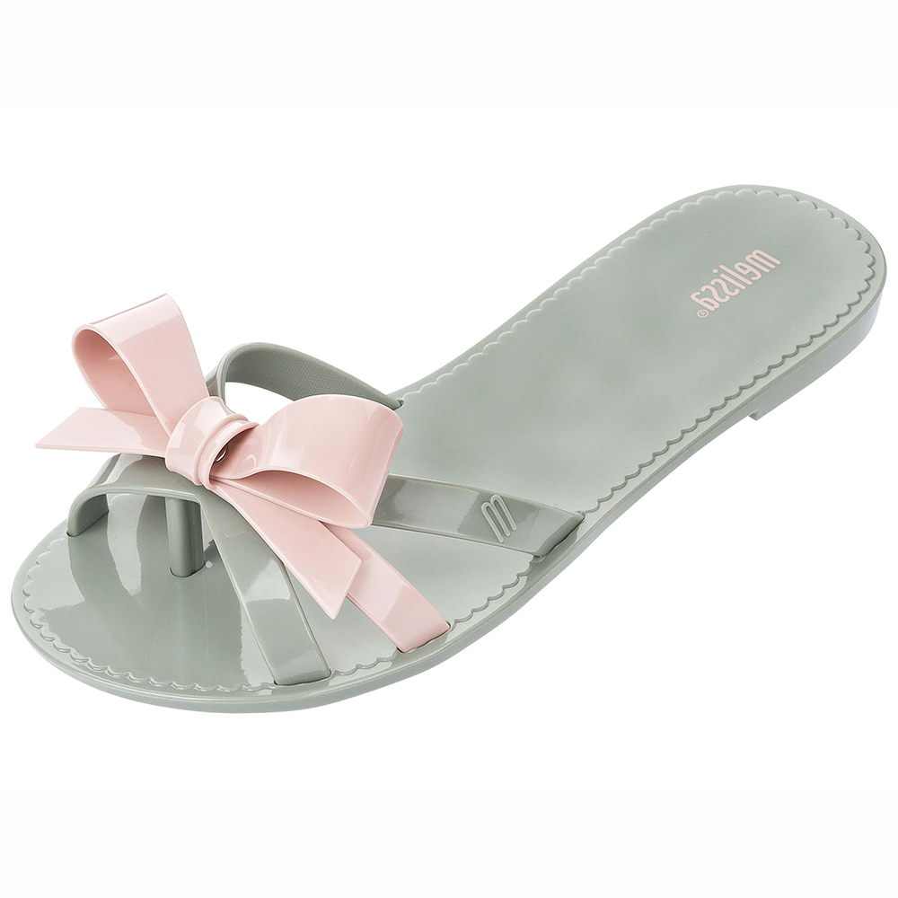 MELISSA 編織蝴蝶結夾腳鞋-粉綠/粉