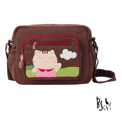 ABS貝斯貓 可愛貓咪拼布 肩背包 斜揹包 (咖) 88-203