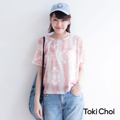 東京著衣 幾何印圖透膚上衣-S.M(共三色)